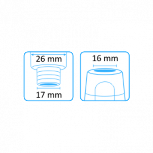 Tehoimupääte 16mm yläaukko ilman letkuliitintää 2