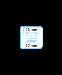 Tehoimupääte 16mm yläaukko ja Dürr-letkuliitin 17mm letkuun 5
