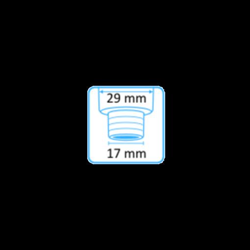 Tehoimupääte 16mm yläaukko ja Heka Dentalin letkuliitin 17mm letkuun 2
